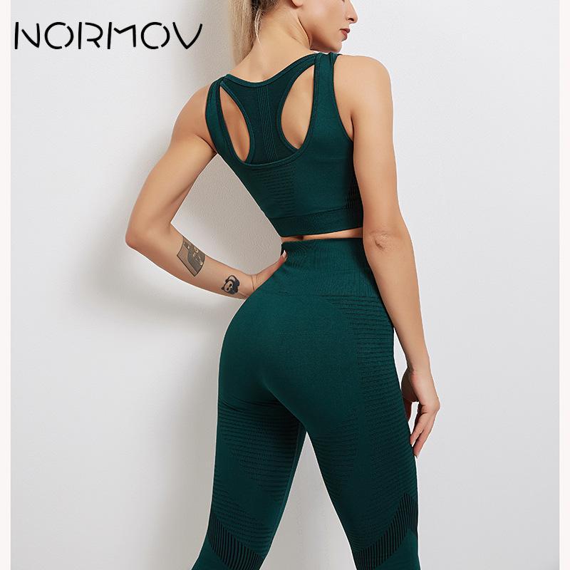 NORMOV sans couture Yoga ensemble 2 pièces Fitness ensemble de gymnastique femmes Sexy soutien-gorge Leggings avec poches pour vêtement de Sport pour femme Sport costume