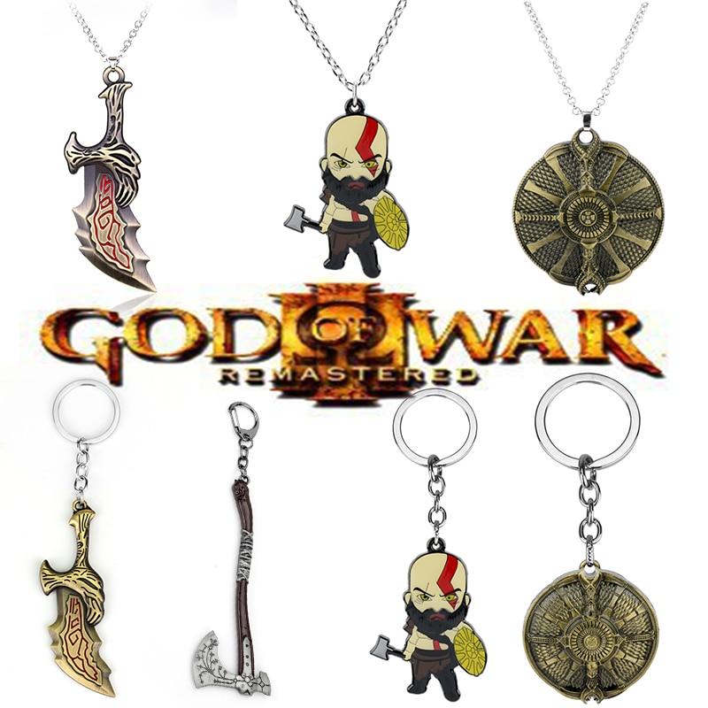 Arma de machado god of war 4 kratos, chaveiro esculpido, escudo de guardião, brinquedos