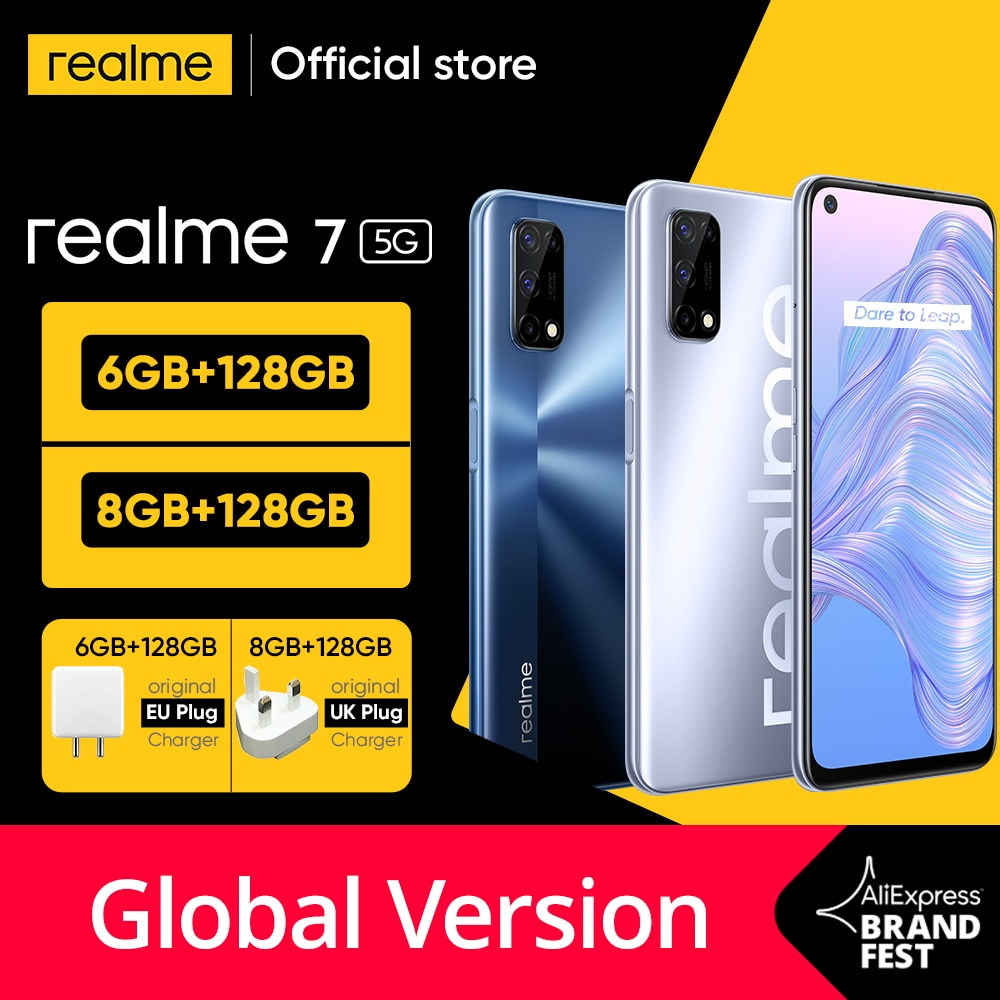[World Premiere In Stock]realme 7 5G Dimensity 800U 6GB 128GB 120Hz Display 48MP Camera 5000mAh Global Version 30W Dart Charger
