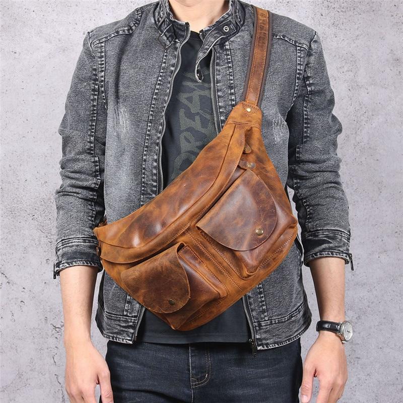 عادية ريترو الرجال جلد طبيعي حقيبة صدر للرجال مجنون الحصان جلد البقر شخصية الموضة حقيبة كتف سعة كبيرة الخصر حقيبة