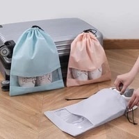 drawstring locked shoe storage organizer bags dust proof shoe bags for travel non woven fabric pvc shoes organizer