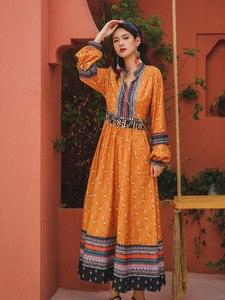 Summer Women's Southeast Asian Travel Ethnic Style Retro Print v-Neck Lantern Sleeve Long Dress Bohemian Beach Dress