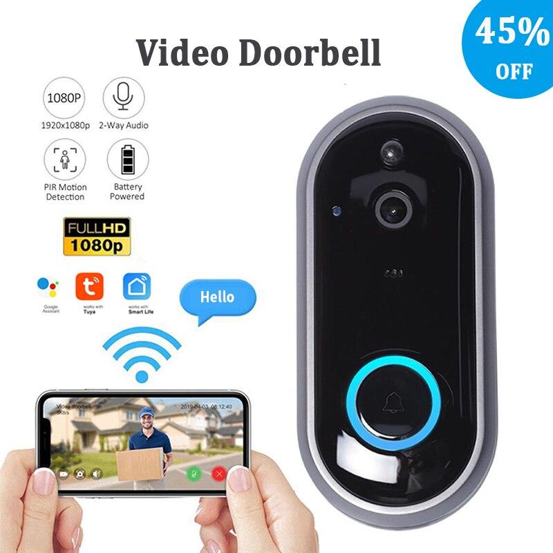 Tuya جرس باب يتضمن شاشة عرض فيديو عن بعد إنترفون HD 1080P الحياة الذكية اللاسلكية واي فاي منخفضة الطاقة جرس الباب