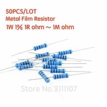 Resistencia de película metálica 1%, 1W, 1%, 1R ~ 1M, 2R, 10R, 22R, 47R, 100R, 330R, 1K, 4,7 K, 10K, 22K, 100K, 470K, 51, 22, 47, 330 ohm, 50 unids/lote