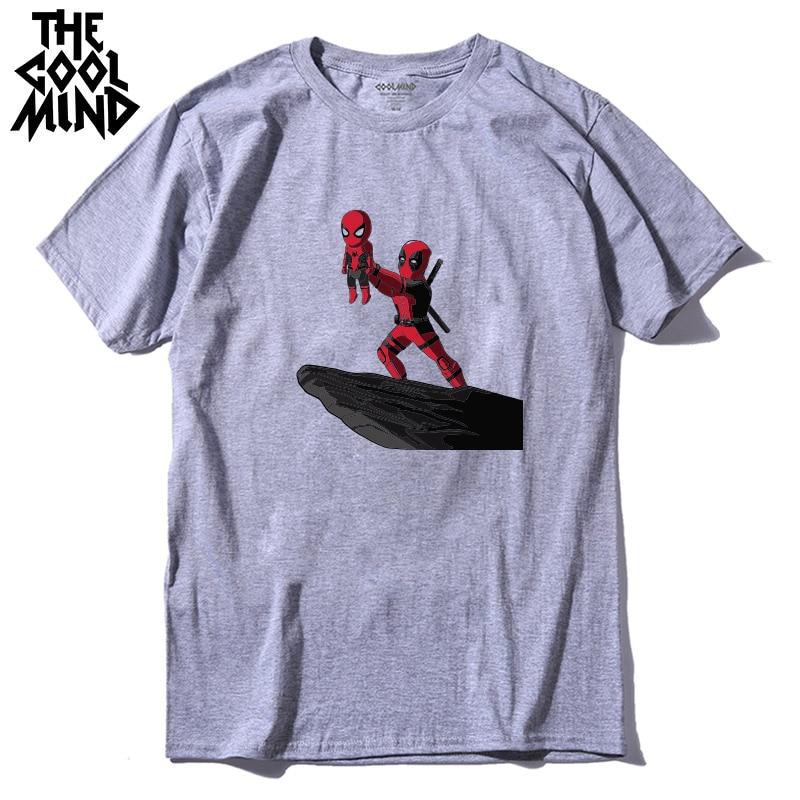"""COOLMIND QI0316A 100% хлопок крутая забавная Мужская футболка с принтом """"Дэдпул"""" Повседневная футболка с коротким рукавом и круглым вырезом для мужчин"""