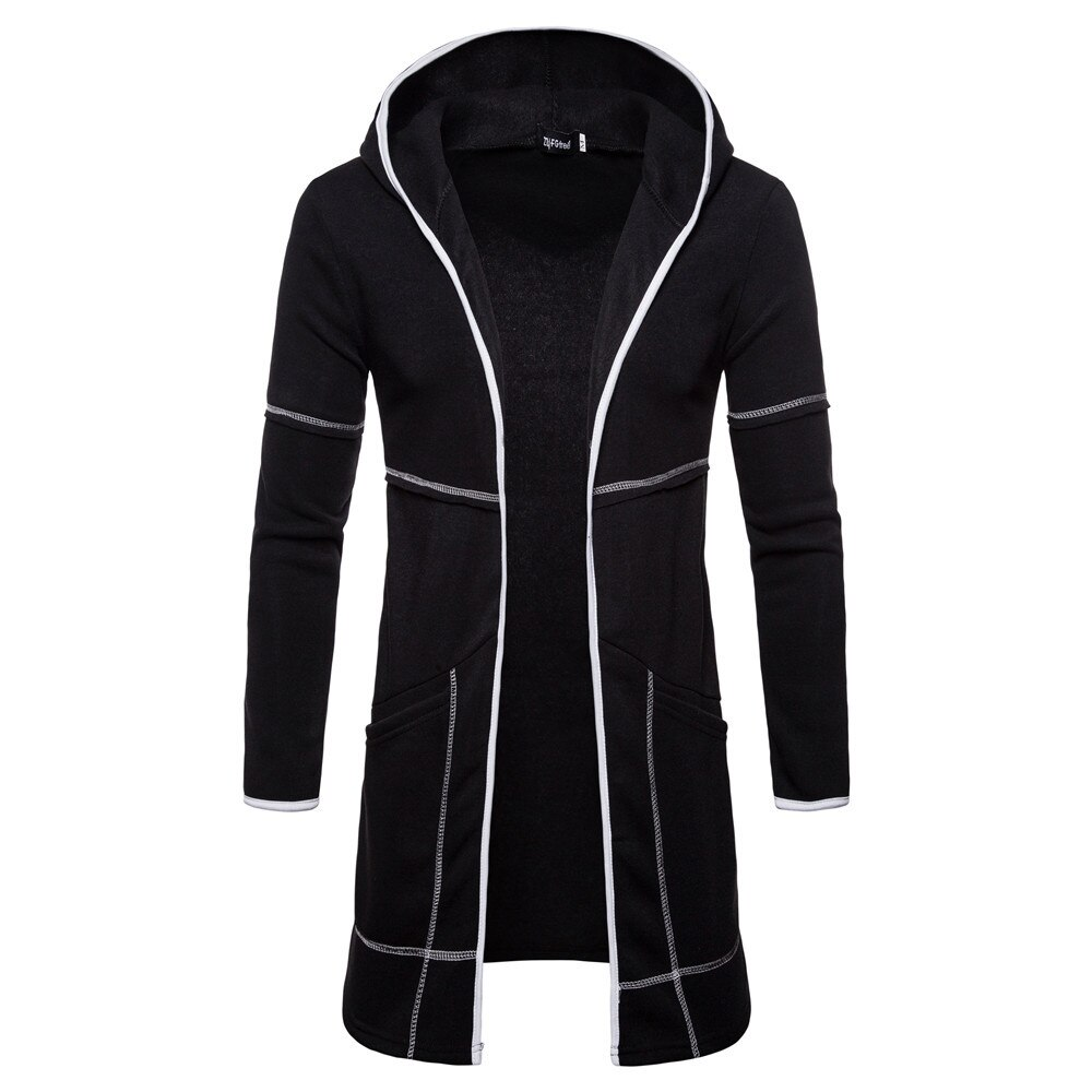 Moda hombre Casual Abrigo con capucha de lana sólida gabardina abrigo de negocios clásico cárdigan chaquetas de manga larga Otoño Invierno