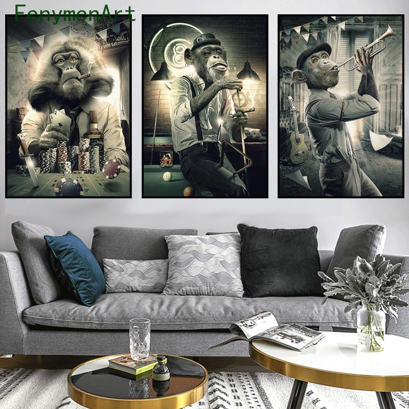 Monkeys Canvas Painting Modern Wall Art Posters Prints Funny Animal Wall Pictures For Living Room Home Decor wall paintings picasso classic colorful wall art canvas posters prints painting oil wall pictures for office living room home decor artwork hd