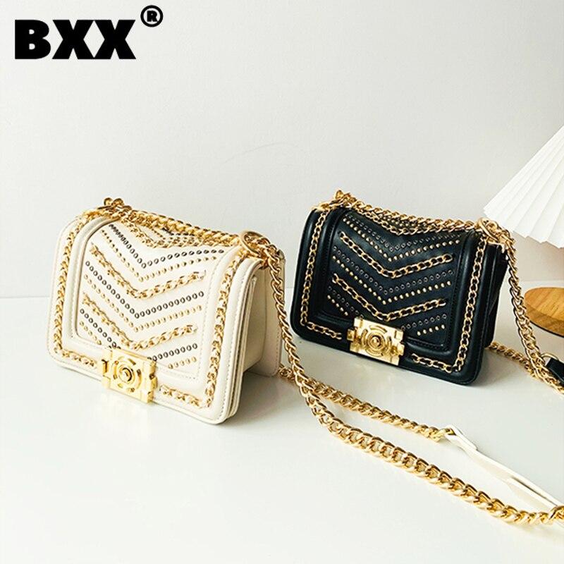 [BXX] Woman New Causal Rivets Chains Quality PU Leather All-match Mini Crossbody Shoulder Bag Fashion Tide Autumn 2021 GF0707