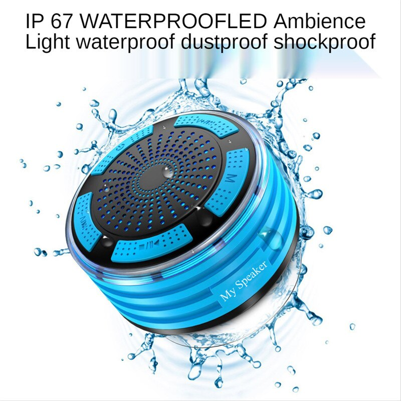 LED Breathing Light Speaker IP67 Waterproof Bluetooth Audio Radio Outdoor Shockproof USB Ambient Light for Sports Picnic Run