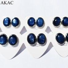 2pairs /set approx6*8mm natural blue kyanite stud earrings send randomly with S925sterling silver needle