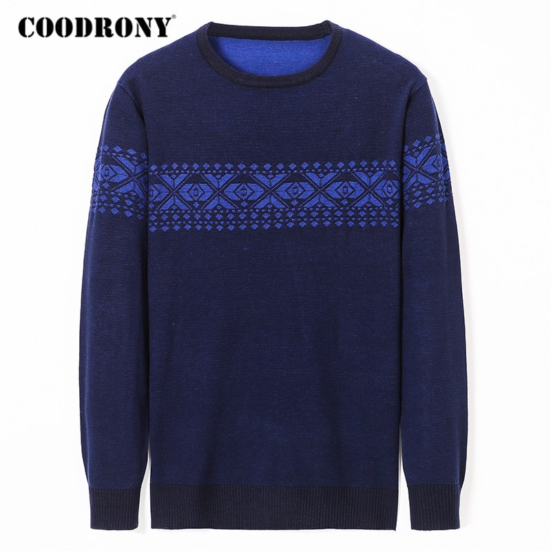 COODRONY Sweater Men Streetwear Fashion Pattern O-Neck Pull Homme Spring Autumn Casual Knitwear Pullover Shirt Clothes Y1077