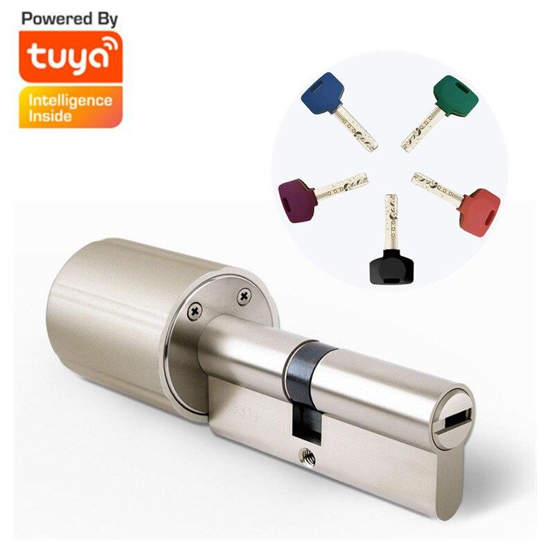 ¡Novedad de 2019! Cerradura inteligente Youpin Vima Tuya, cilindro de núcleo, cerradura de puerta de seguridad inteligente con cifrado con llaves, funciona con la aplicación Tuya
