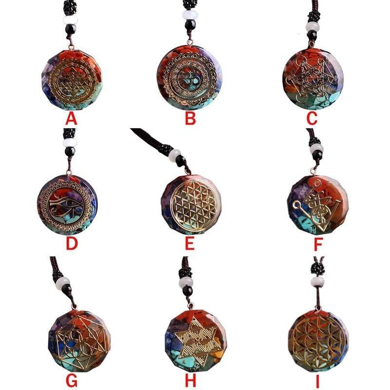 Collar de energía de 7 Chakras, colgante de orgonita, collar con colgante de Sri Yantra, regalo de joyería de meditación de Geometría Sagrada