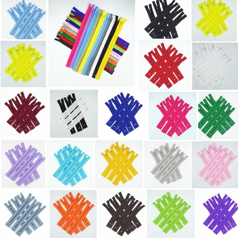 AliExpress - 10Pcs Mix 3# ( 10Cm-100Cm ) Closed Nylon Coil Zipper  Suitable For Clothes 20 Colors