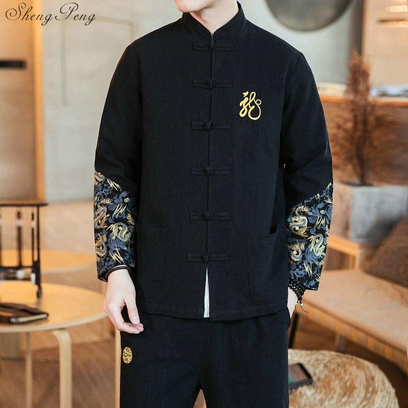 Casaco + Calças Dos Homens de Caráter Chinês tradicional Bordado Tang Terno Kung Fu Tai Chi Traje Mestre Masculino Bomber Jackets V1653