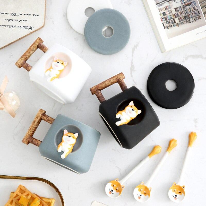 Eway INS-أكواب سيراميك Shiba Akita على النافذة ، أكواب قهوة وشاي ، بمقبض ، مع غطاء على شكل حيوان ، ملعقة ، 420 مللي