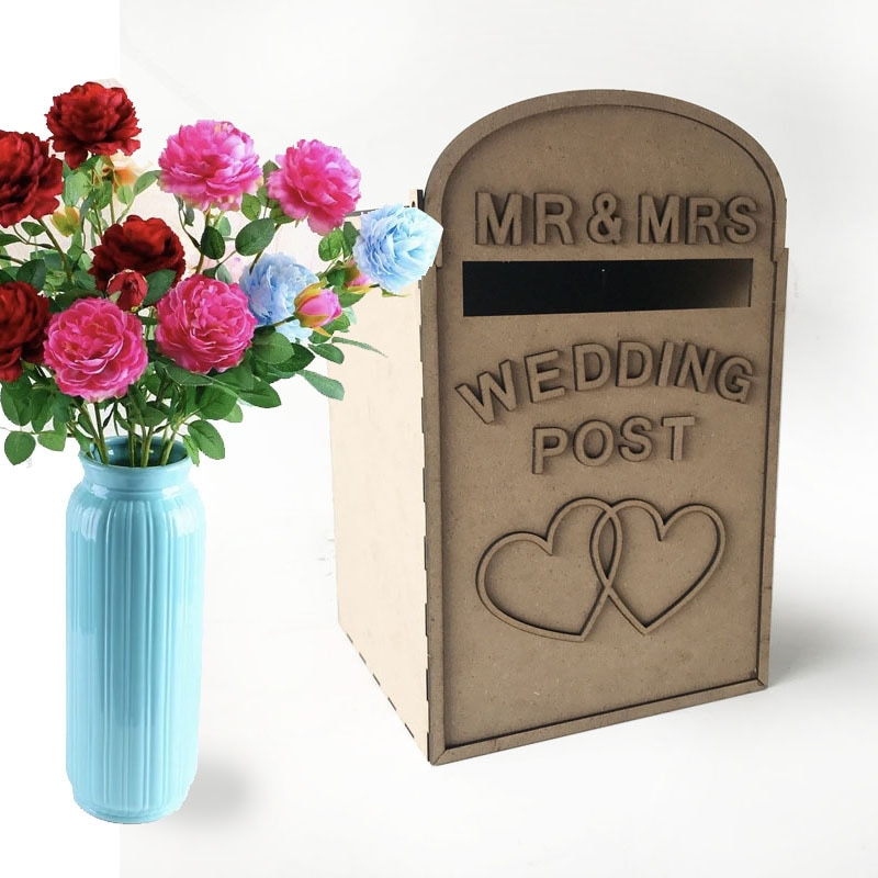 ABUI-Solid Pine Fully Assembled Personalised Wedding Card Post Box Royal Mail Style Diy Wedding Gift Card Box Wedding Decor Supp