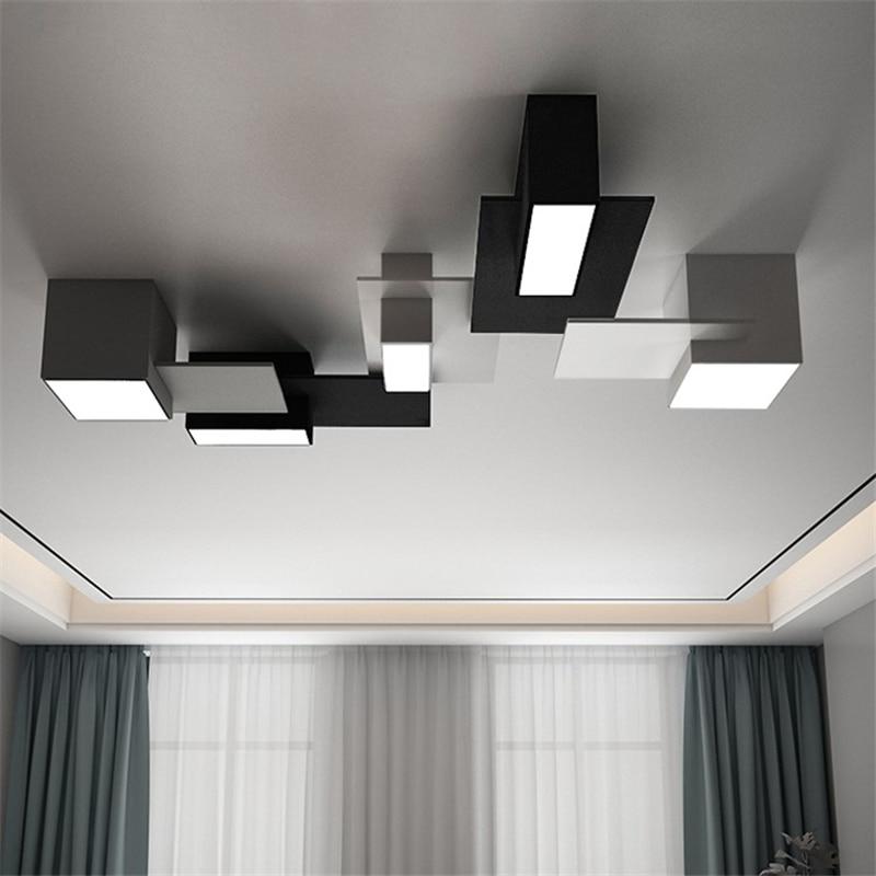 مصباح سقف LED بتصميم إسكندنافي حديث ، مصباح داخلي مختلط ، مثالي لغرفة المعيشة أو غرفة النوم.