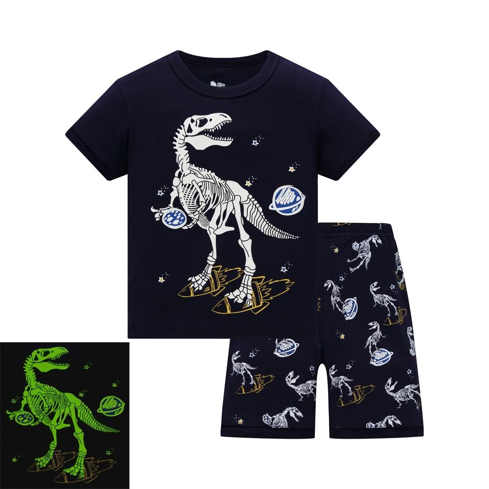 Модные летние комплекты одежды для мальчиков от 2 до 8 лет детская одежда, пижамные комплекты Детские хлопковые рубашки + шорты