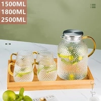 cold water carafe glass kettle large capacity jug home tea milk juice coffee pot with small cups bamboo lid 1350ml 1500ml 1800ml