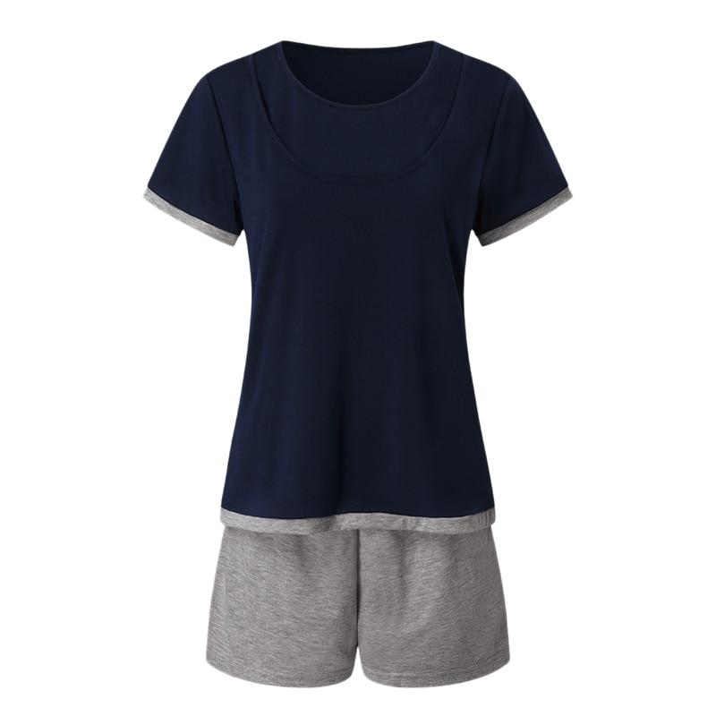 Maternidad enfermería camiseta Top + Pantalones cortos conjunto maternidad mamá manga corta pijama conjunto maternidad sueño pijama pantalón