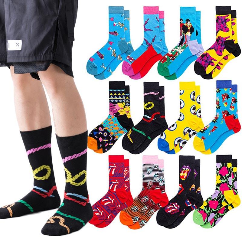Модные мужские забавные носки, модные женские персональные носки с аниме, модные носки с мультяшным рисунком высокого качества