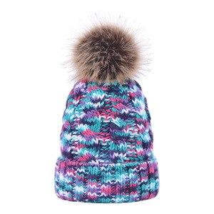 fur pom pom  cap winter keep warm hat knitting beanies cap soft hat colorful nice looking hat