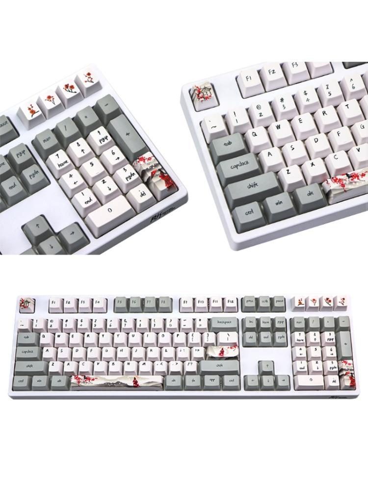 Wangjiang زهر البرقوق PBT خمسة الجانبين صبغ subbed 113 مفاتيح OEM الشخصي غرار Keycap ل Diy الميكانيكية لوحة المفاتيح كيكابس
