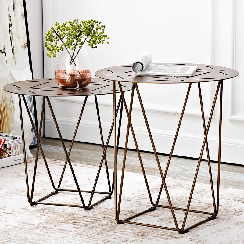 Hohl-out desktop wohnzimmer lagerung rack sofa seite tee tisch rand arc rand design metall eisen tisch verdickt material ecke