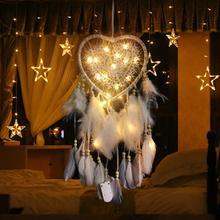Veilleuse tissée à la main   Carillon éolien tissé, style nordique, créatif amour, attrape-rêve, plume pour voiture, décoration de maison, ornements