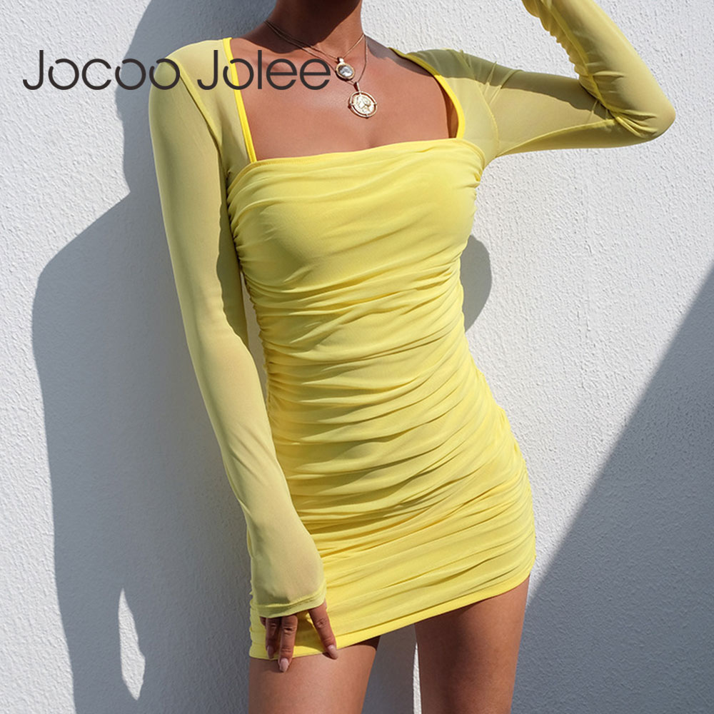 Jocoo Jolee las mujeres Sexy malla Bodycon Mini vestido de verano de manga larga cuello cuadrado vestido vendaje vestido elegante vestido de fiesta, de noche