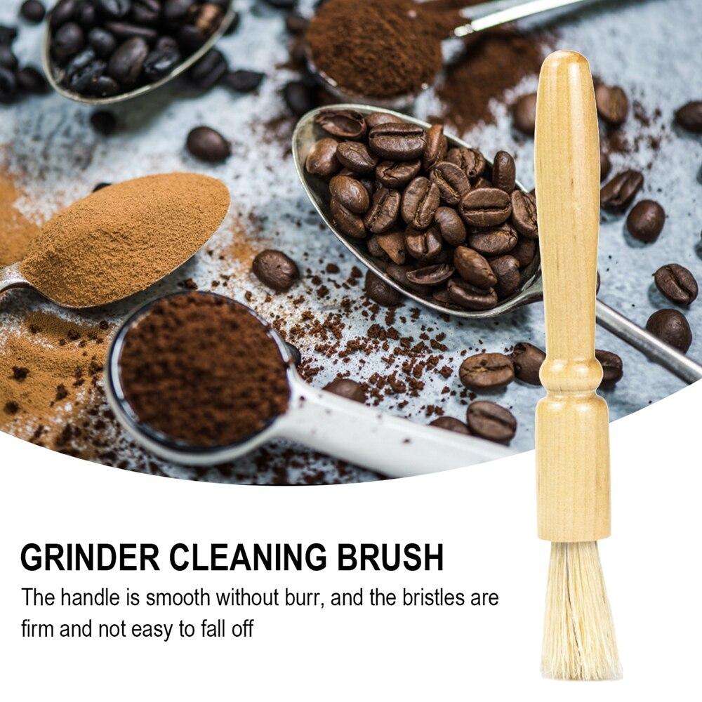 Щетка для очистки кофемолки, ручка из натуральной древесины