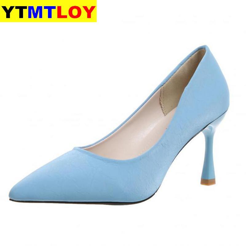 2020 New Spring Women Kitten Heels Pumps Designer Low High Stiletto Big Size Dress Wedding Shoes  Blue Beige Black Heels