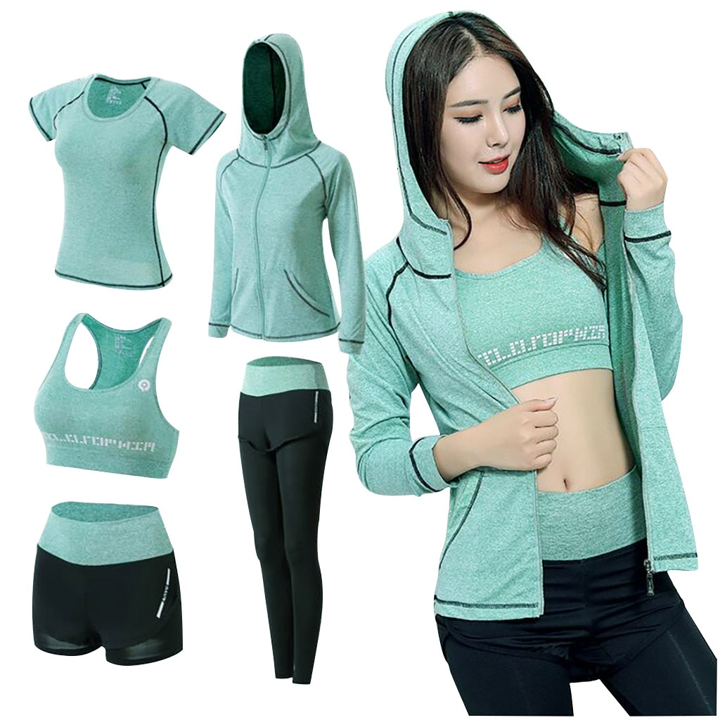 top selling product in 2020 5PCS Clothing Suit Set Tracksuit Running Gym Winter Fitness Clothing Wom