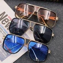 Square Pilot Men Sunglasses Women Gold Metal Flat Top Luxury Brand Design Sun glasses Black Transpar
