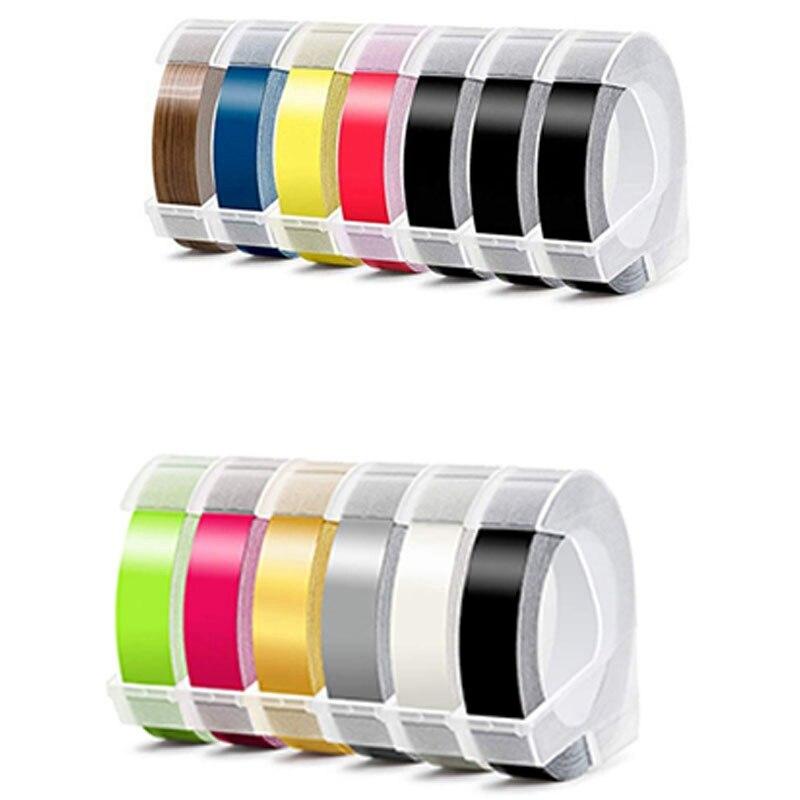 Fita autoadesiva do fabricante da etiqueta do medidor do plástico 9mm x 3.0 da fita de gravação 3d de 13 pces compatível com o fabricante júnior da etiqueta de dymo