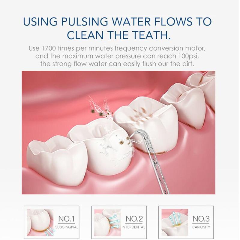 Nicefeel Oral Irrigator Water Flosser Dental Jet Teeth Cleaner Hydro Jet With 600ml Water Tank & 7 Nozzle and 1 Toothbrush enlarge