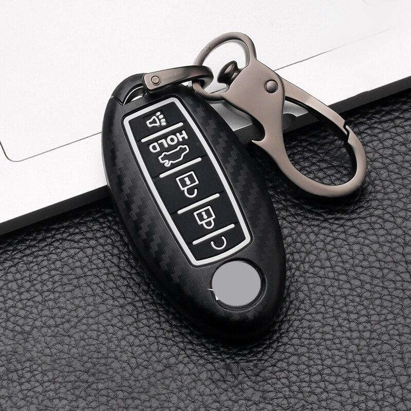 Funda ABS de 5 botones de fibra de carbono para llave de coche para Nissan Patrol Y62 Altima Maxima Infiniti FX G37 Q60 QX50 QX70 cubierta de mando a distancia