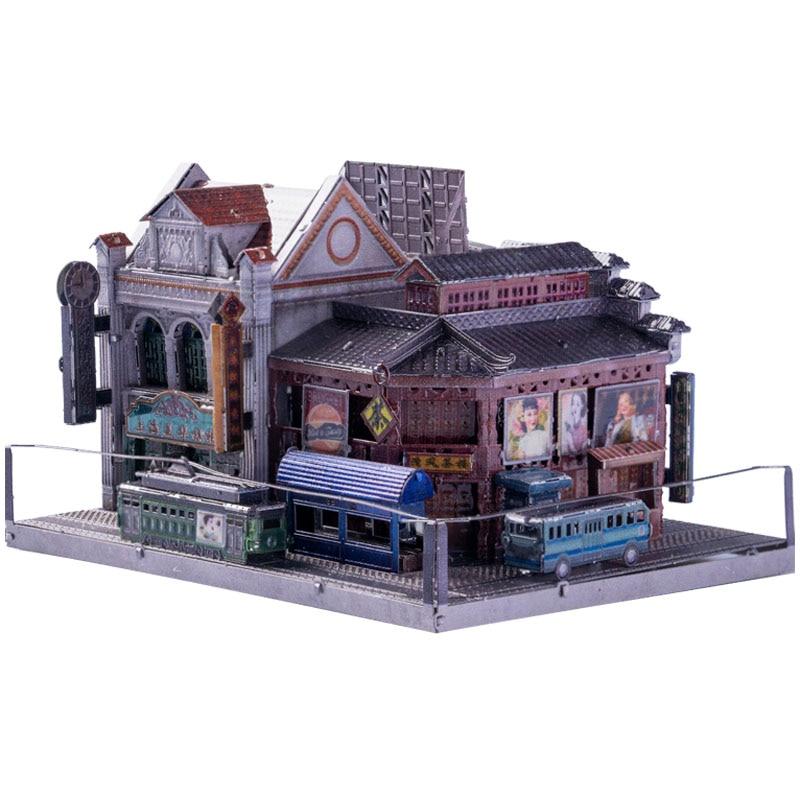 Modelo de arte xangai cultura-casa de chá construção 3d metal puzzle modelo kits diy corte a laser montar jigsaw brinquedo presente para crianças