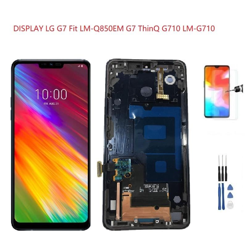 للعرض LG G7 Fit LM-Q850EM LCD الإطار SCHERMO BLU الأسود ل LG G7 ThinQ عرض G710 LM-G710 LCD محول الأرقام بشاشة تعمل بلمس