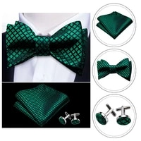 bowtie for men solid green bow tie plaid silk bowtie set handkerchief cufflinks checked bows self tied tie barry wang wholesale