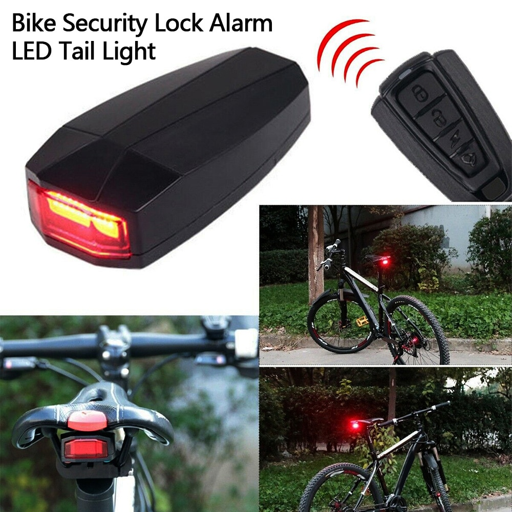 Anti-theft Bike Security Alarm 4 In 1 Waterproof Wireless Remote Control Alerter Taillights Lock Warner Bicycle lamp Accessories