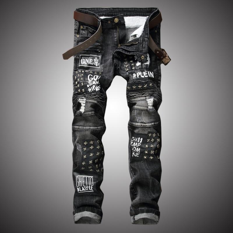 Motorcycle Biker Jeans Men Vintage Denim Pants Trousers Male Streetwear Slim Fit Jeans 2020 Fashion Casual Rivet Destroy BP046
