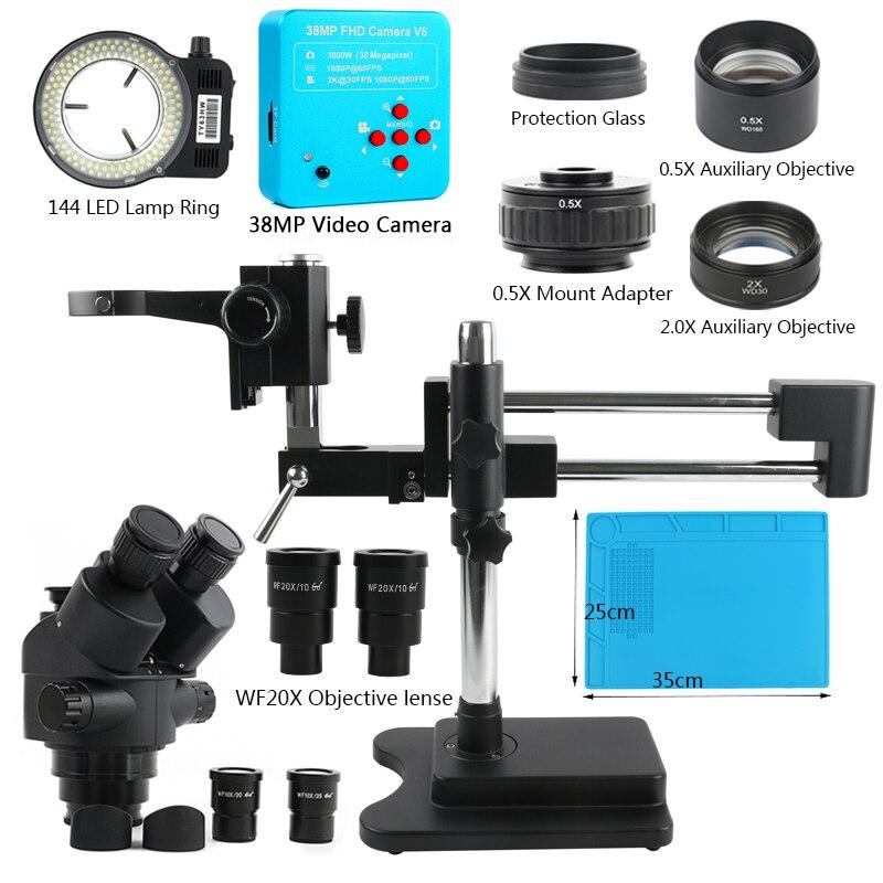 3.5X-90X 180X مزدوجة بوم سيمول البؤري ثلاثي العينيات مجهر ستيريو 38MP 2K HDMI USB كاميرا فيديو للمجوهرات أدوات إصلاح