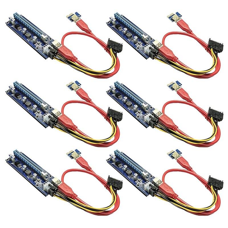 بطاقة مهايئ Pcie ثنائية الشريحة PCI-E 16X إلى 1X تعمل بالطاقة مع كابل تمديد USB 3.0 و 6 دبوس PCI-E إلى كابل طاقة SATA