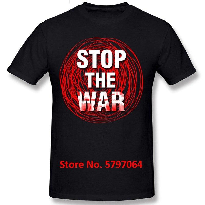 Camiseta Street Boy Stop The War, Camiseta lisa de manga corta de verano/otoño, camisetas de cuello redondo, Camisa de algodón estampada