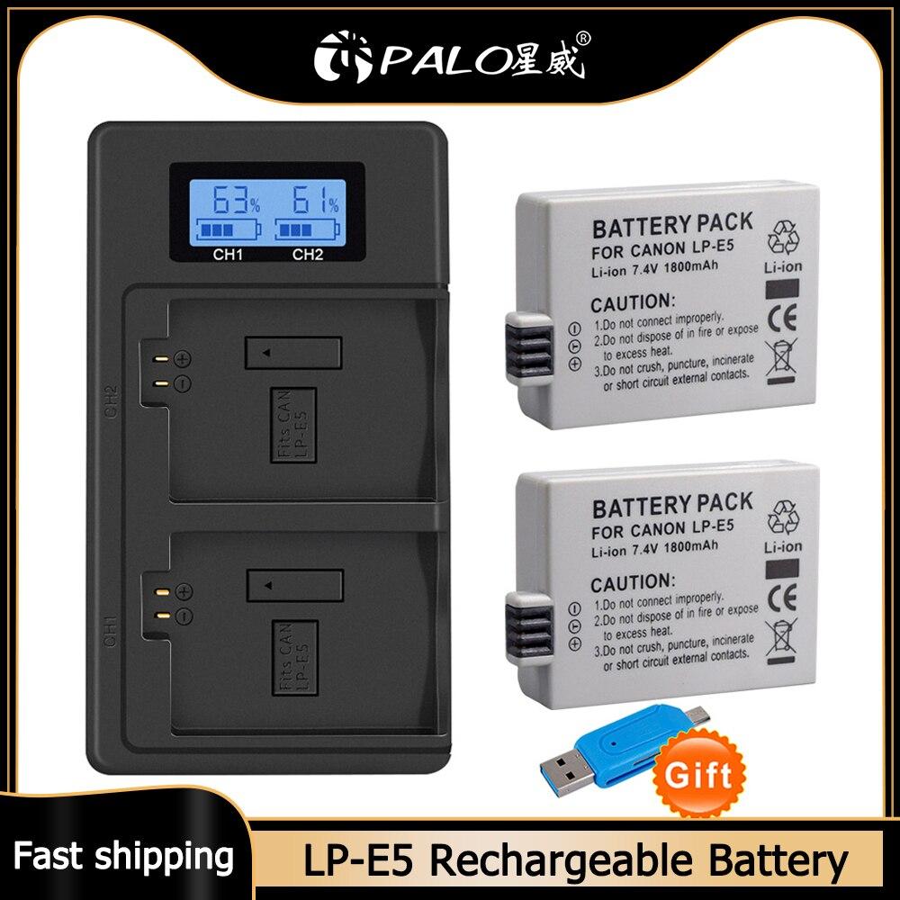 PALO LP-E5 LPE5 LP E5 Battery Camera Batteries For Canon EOS Rebel XS,Rebel T1i,Rebel XSi,1000D,500D,450D, Kiss X3,X2, F+charger znter 7 2v 1600mah lp e5 lpe5 lp e5 camera battery for canon eos eos rebel xs rebel t1i rebel xsi 1000d 500d 450d l50