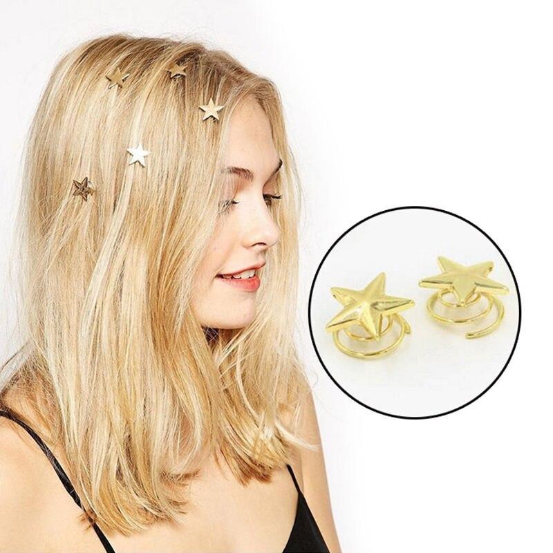 Pinza para el pelo primavera estrella dorada barata, horquillas para el cabello remolino para mujeres y niñas, herramientas de peinado para el cabello de varios estilos