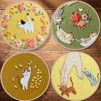 Набор для вышивки садовых кошек, бабочек, цветов, животных, для начинающих