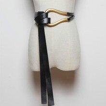 Lüks marka yeni moda U şeklinde yumuşak suni deri kemerler kişilik çift katmanlı kemer gömlek düğümlü kemer uzun sapanlar